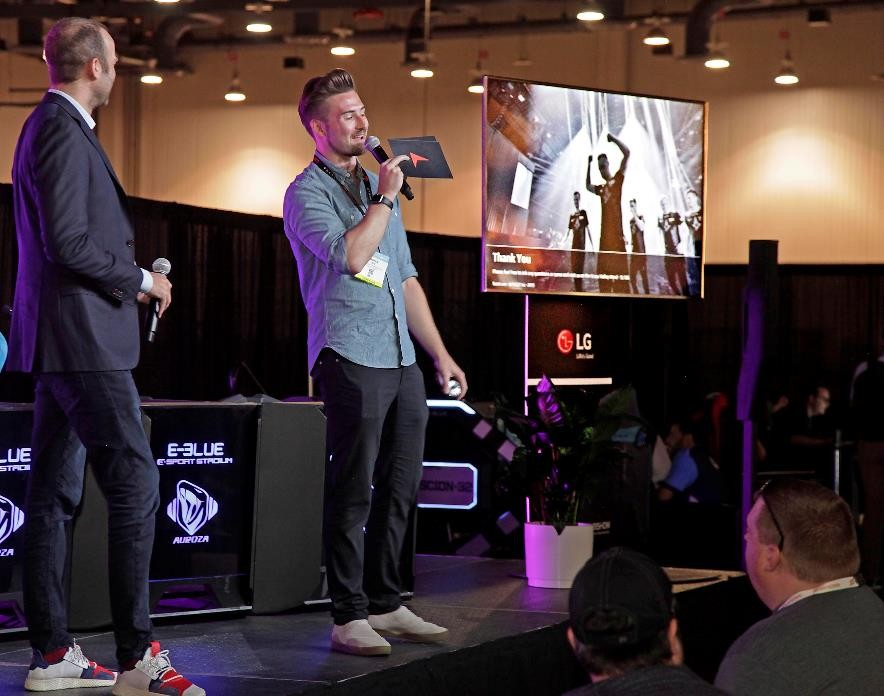 An LG 4K TV is used by a participating company during their presentation session at 2019 NAB Show.