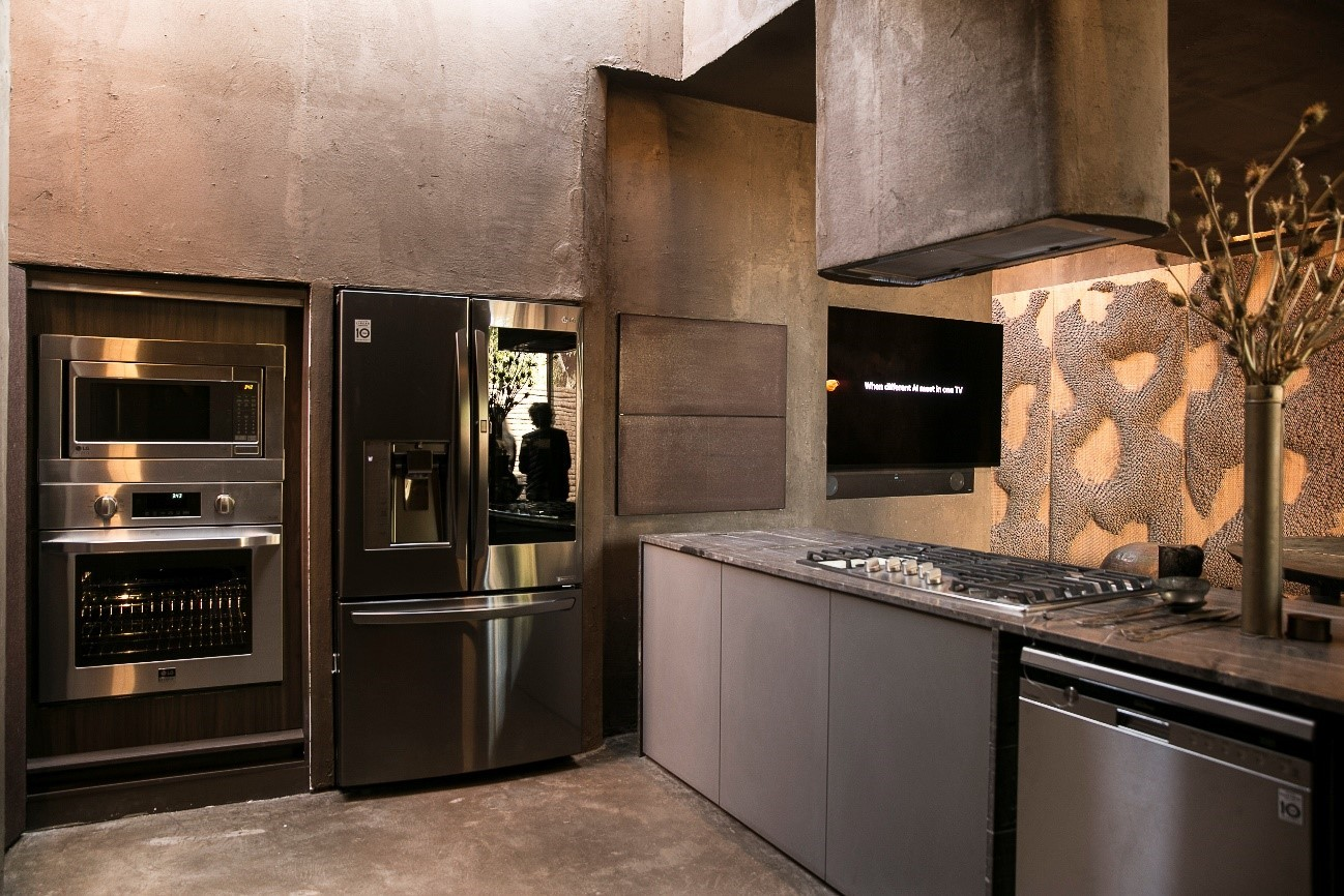 An inside view of LG's Planet Home at CASACOR SÃO PAULO 2019, there are a complete set of LG's top-tier cooking appliances.