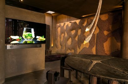 An inside view of LG's 77-inch OLED TV and the kitchen designed by Brazilian architect, Gustavo Neves at LG's Planet Home