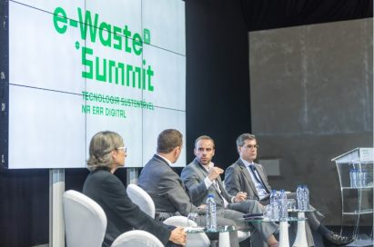 An image of the panel discussion at the e-Waste Summit: Sustainable Technology in the Digital Age