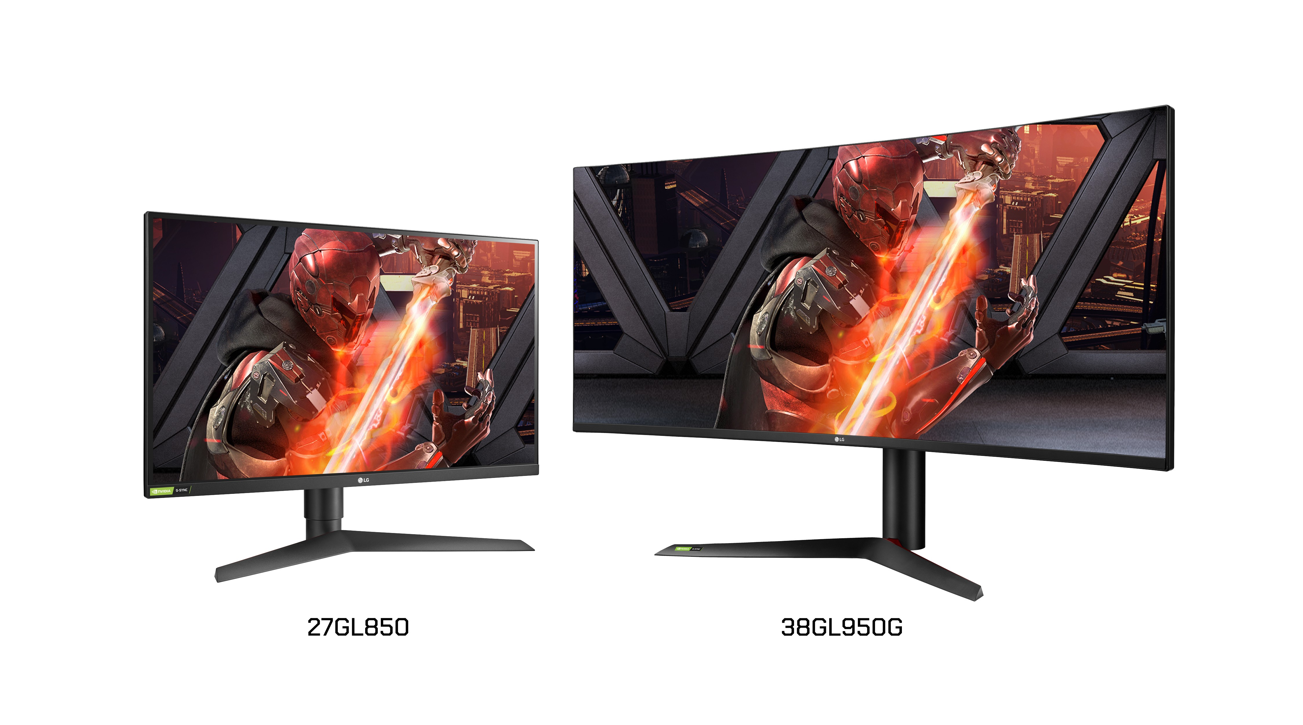 A left-side view of LG UltraGear Nano IPS G-SYNC Gaming Monitor model 27GL850 next to a right-side view of model 38GL950G