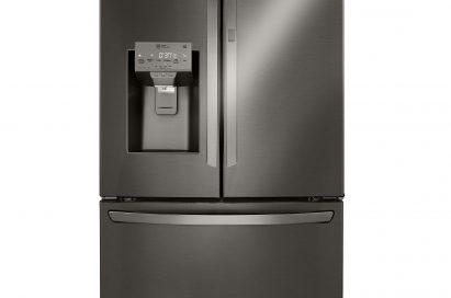 Front view of an LG three-door refrigerator with a door-ice maker