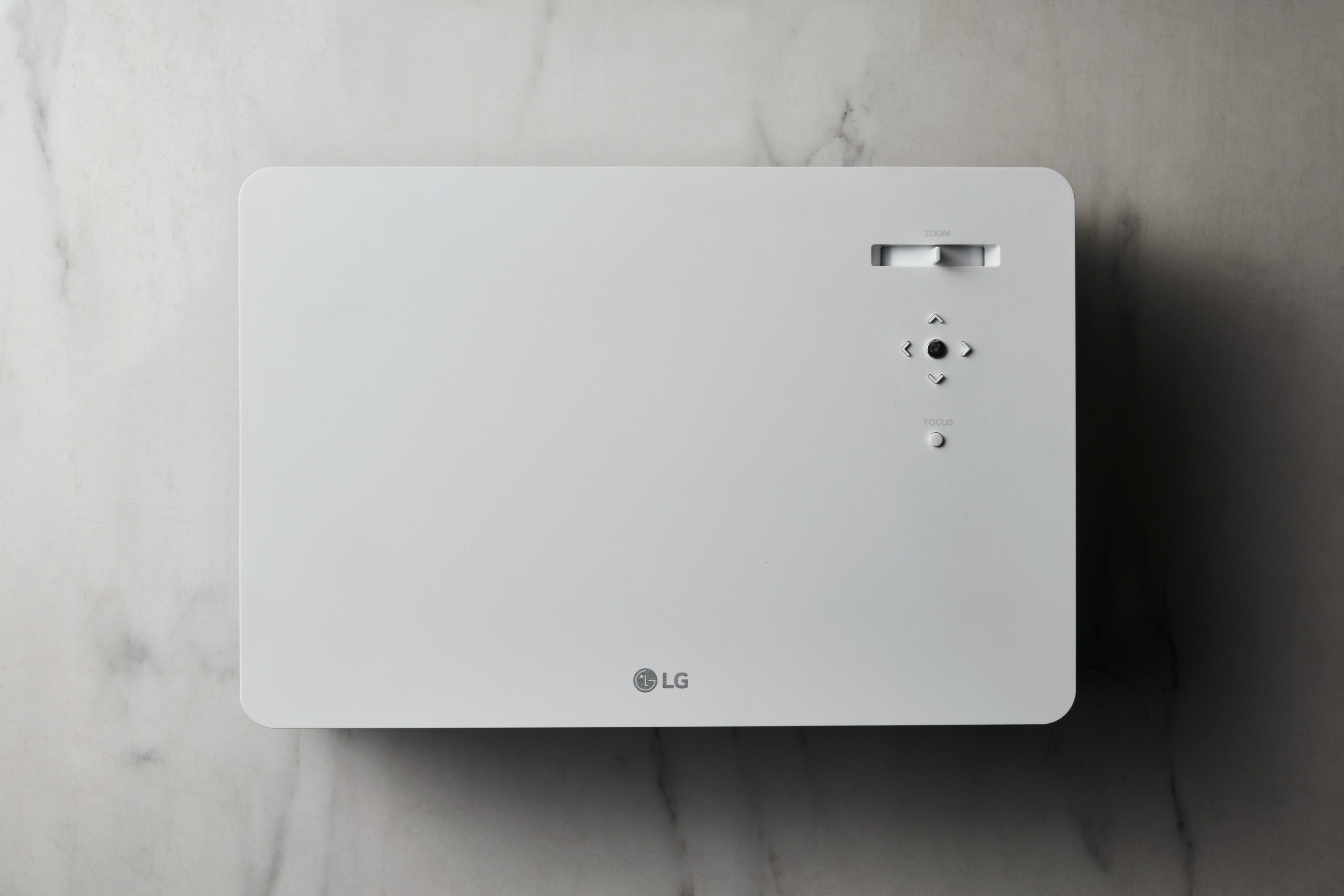 A top view of LG CineBeam 4K UHD projector model HU70L