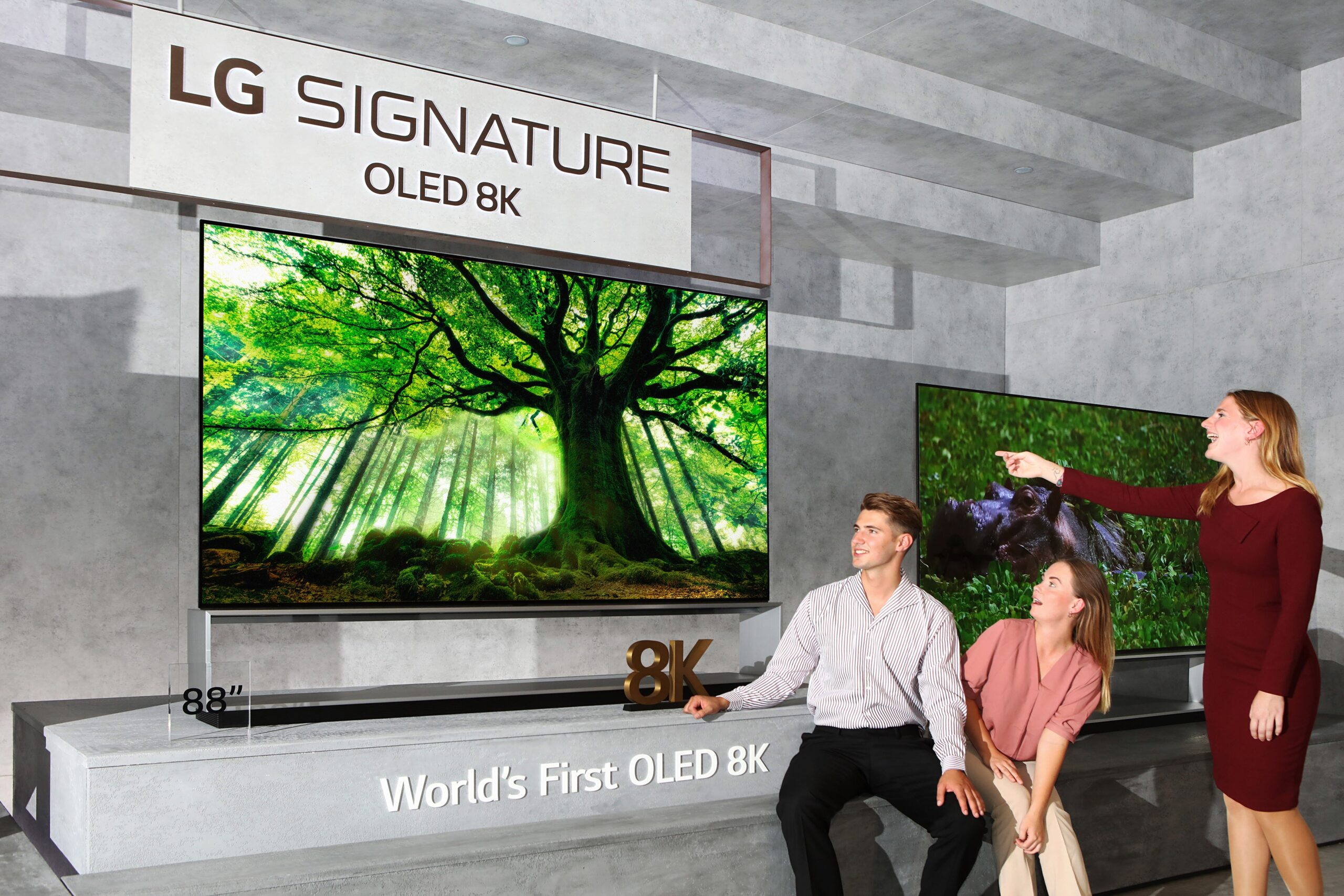 Three models admiring the LG SIGNATURE OLED 8K TV while it displays an enormous tree