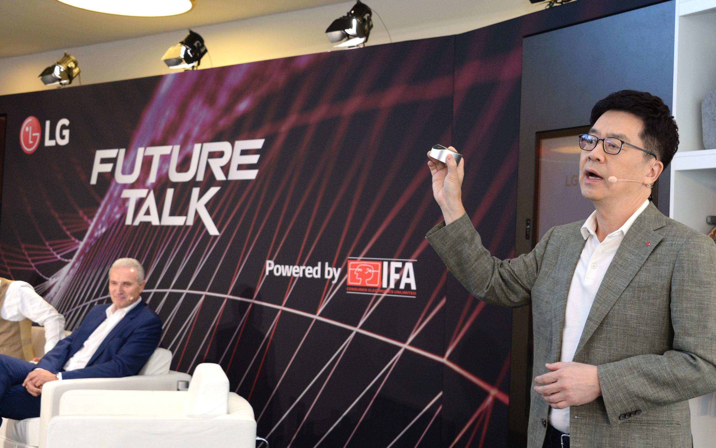 Dr. I.P. Park, president and chief technology officer of LG Electronics, delivers a speech at a panel talk event to kick off IFA 2019.
