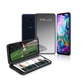 The front and rear view of the LG G8X ThinQ in Aurora Black and the upgraded LG Dual Screen, with the front device showing a tennis match on the Dual Screen with game stats on the main screen