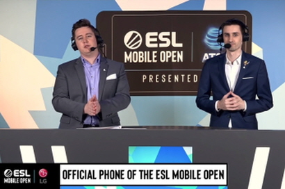 Two male announcers introduce the LG G8X ThinQ with Dual Screen as the official phone of the ESL Mobile Open.