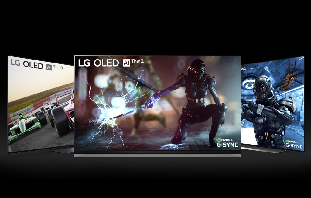 NVIDIA G-SYNC on LG OLED TV models E9, C9 and B9 with a black background
