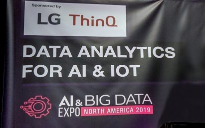 A large banner for the AI & Big Data Expo introduces the LG ThinQ brand as a major sponsor of the event.
