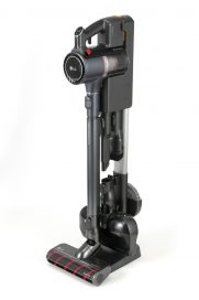LG CordZeroThinQ A9 Stick Vacuum hooked up to its multi-type charging stand that provides space-efficient storage for the vacuum and its various nozzles and accessories.