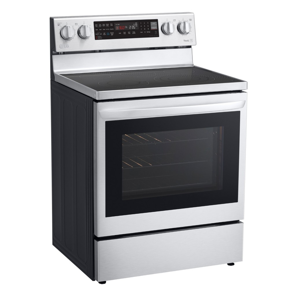 Side view of LG InstaView ThinQ™ Range with induction cooktop in silver color