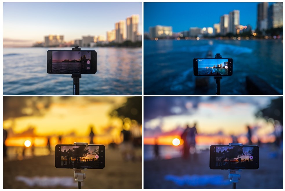 A four-picture collage shows four different photos which have been remastered by the LG G8X ThinQ AI CAM's filter suggestions.