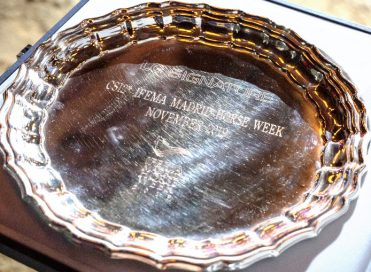 The Madrid Horse Week trophy engraved with the LG SIGNATURE brand logo as its main sponsor.
