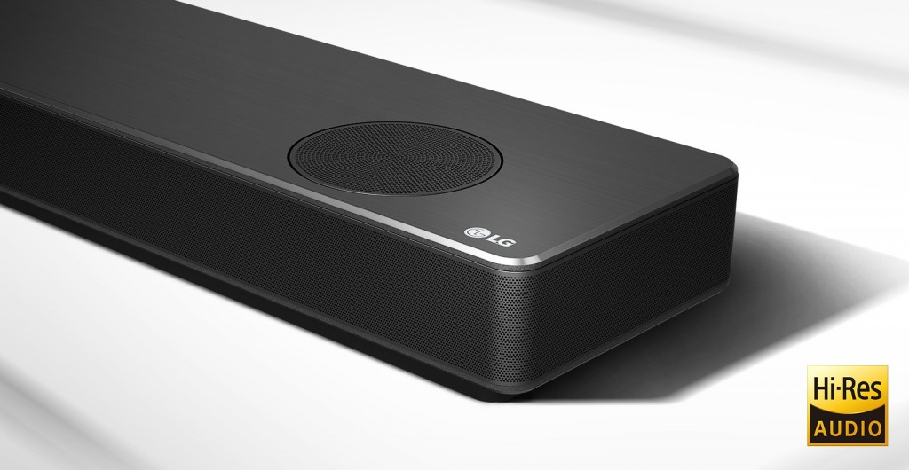 A close-up of the LG SoundBar model SN11RG's right side with the Hi-Res Audio logo displayed in the bottom right corner