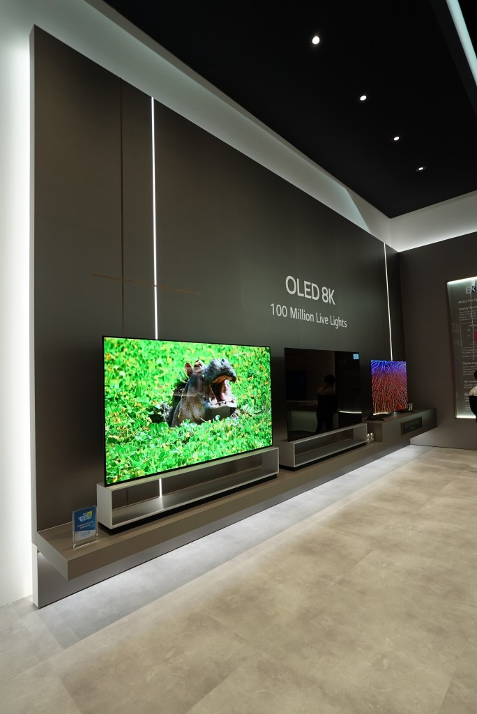 A view of LG's OLED 8K TV zone at CES 2020, with the company's 8K OLED TV lineup on display