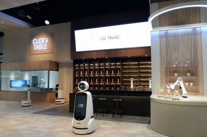 A wide-angle view of LG CLOi's Table Zone, a futuristic restaurant where LG CLOi robots manage the entire operation
