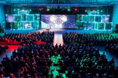 A view overlooking the Daimler Supplier Award 2020's large audience and main stage, where LG was recognized for its in-vehicle touchscreen display technology