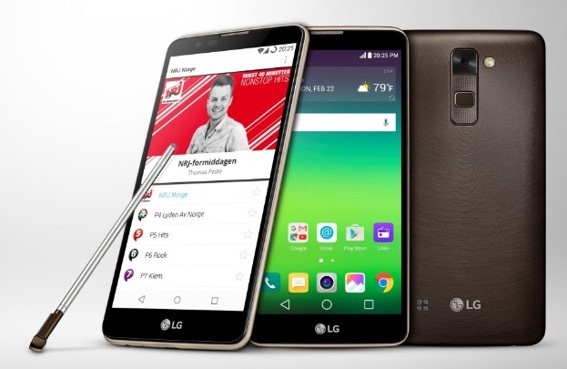 Front, rear and side views of LG Stylus 2 with its stylus, which supports DAB+ to give users access to a huge number of channels