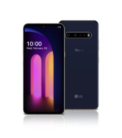 The front and rear view of the LG V60 ThinQ 5G in Classy Blue