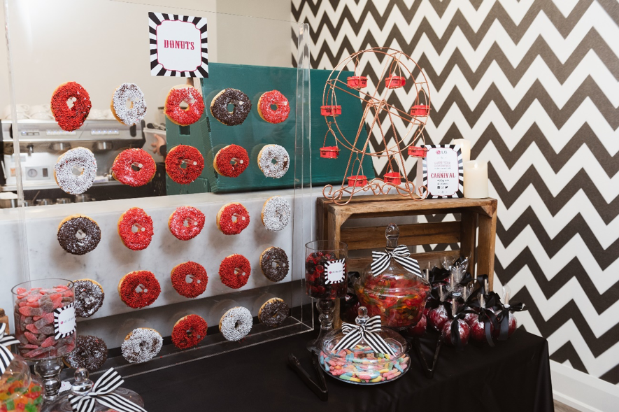 A wide selection of confectionery makes up an appetizing table display