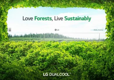 Promotional image of LG DUAL COOL surrounded by a dense green forest