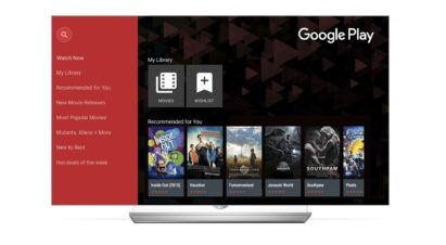 The Google Play Movies home page on the LG Smart TV
