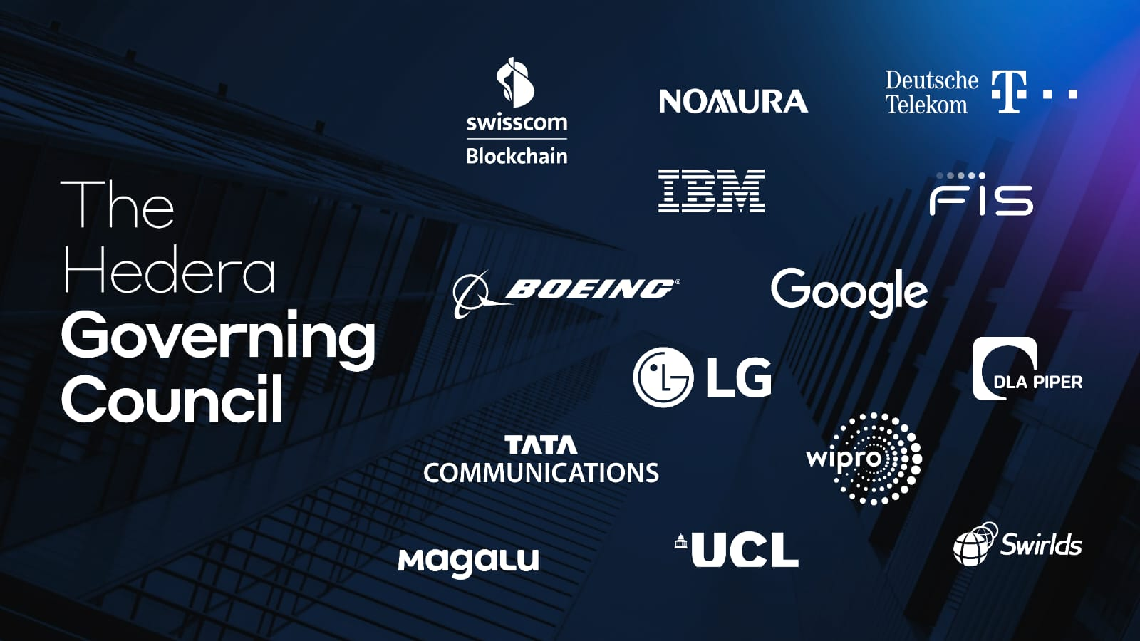 An image showing the logos of companies who are members of the Hedera Governing Council