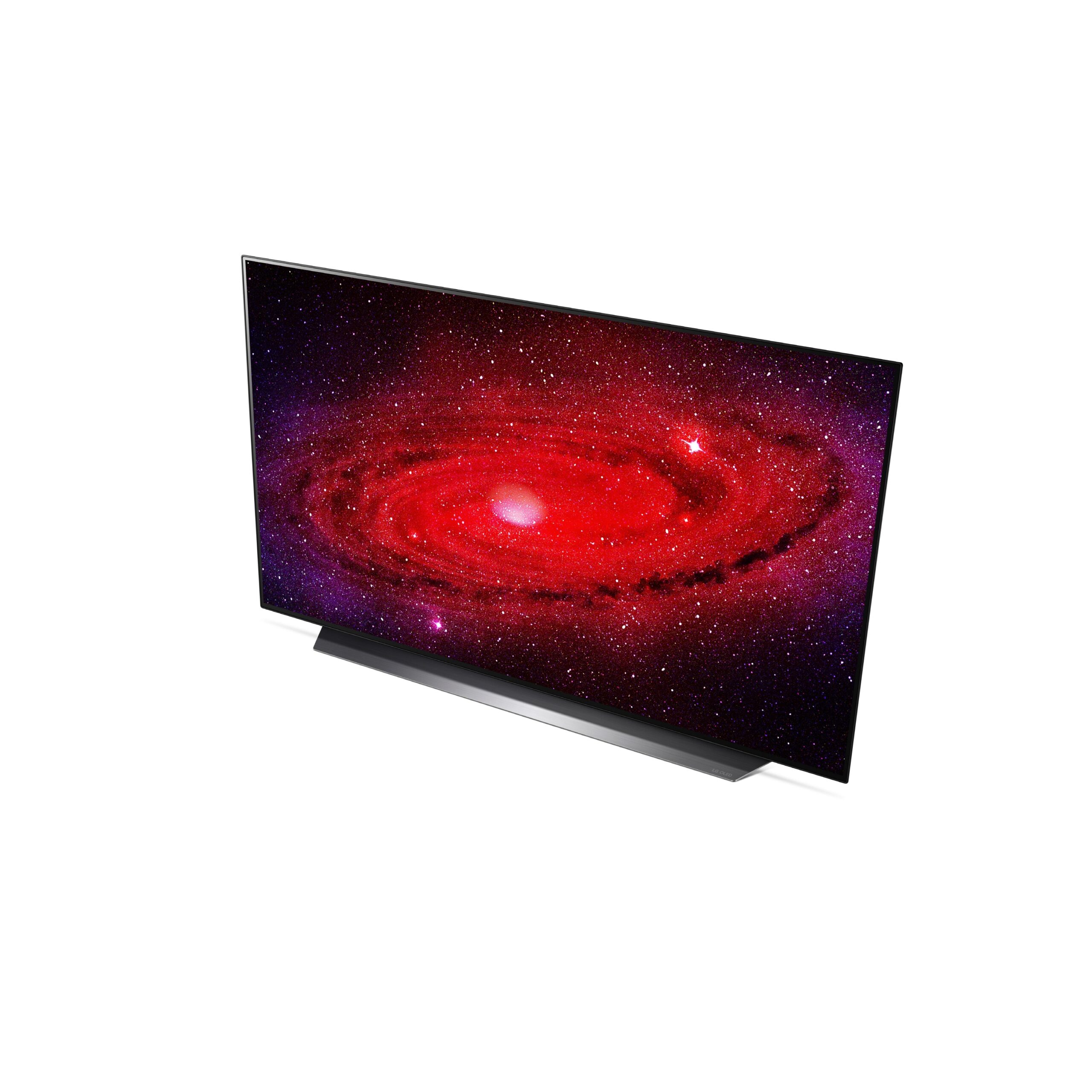Right side view of LG's 48-inch OLED TV displaying a galaxy in extreme detail with powerful reds and purples