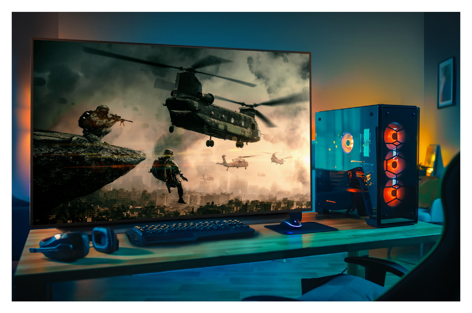 LG's 48-inch OLED TV delivering immersive and smooth gameplay and picture quality as part of a gaming setup in a dimly lit room