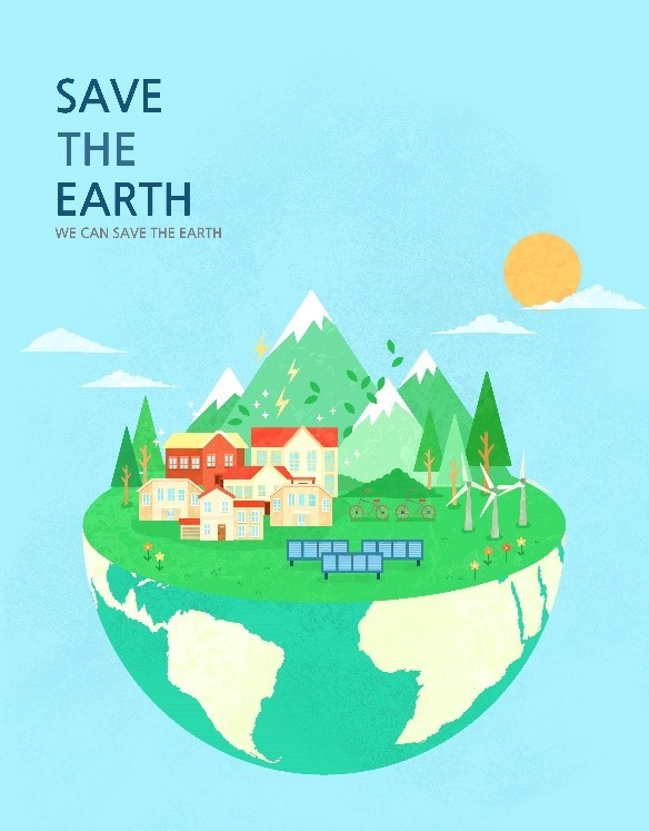 """A poster with the slogan, """"Save The Earth, We Can Save The Earth,"""" to celebrate Earth Day"""