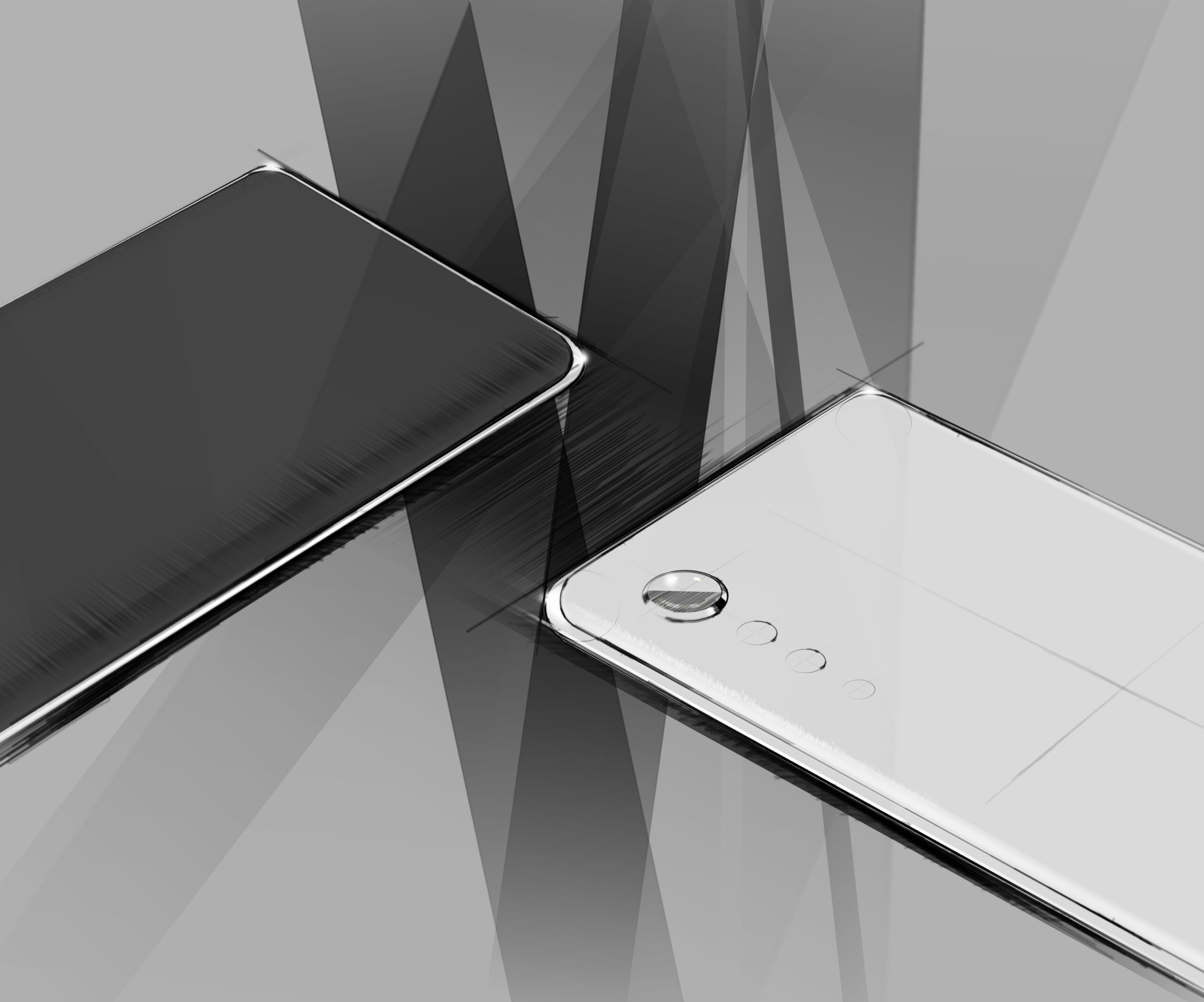 Render image of LG's upcoming flagship smartphone in black and white