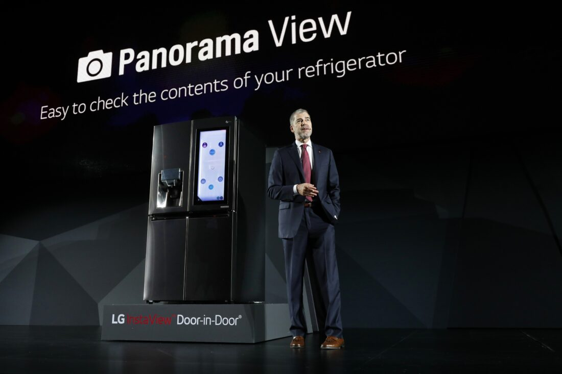 David VanderWaal, Senior Vice President, Marketing, LG Electronics discusses the main features of LG's InstaView Door-in-Door refrigerator at its CES 2017 Press Conference.