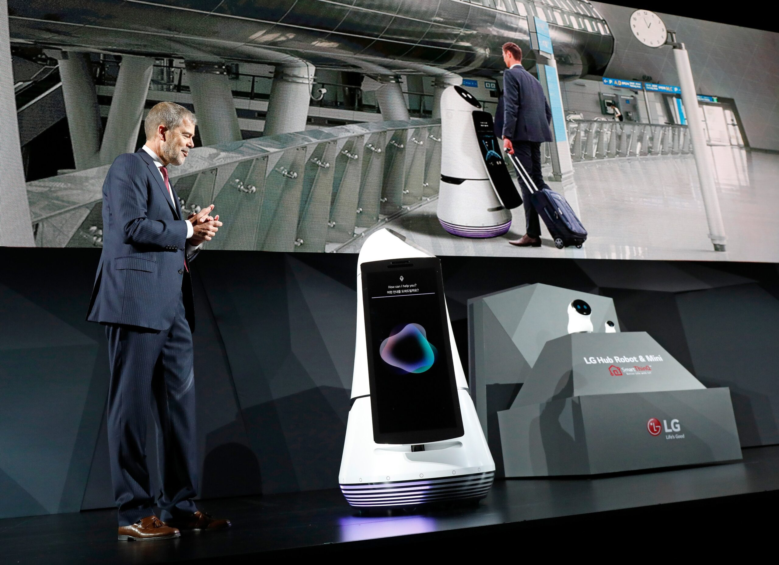 David VanderWaal, Senior Vice President, Marketing, LG Electronics introduces LG's Airport Guide Robot at its CES 2017 Press Conference.