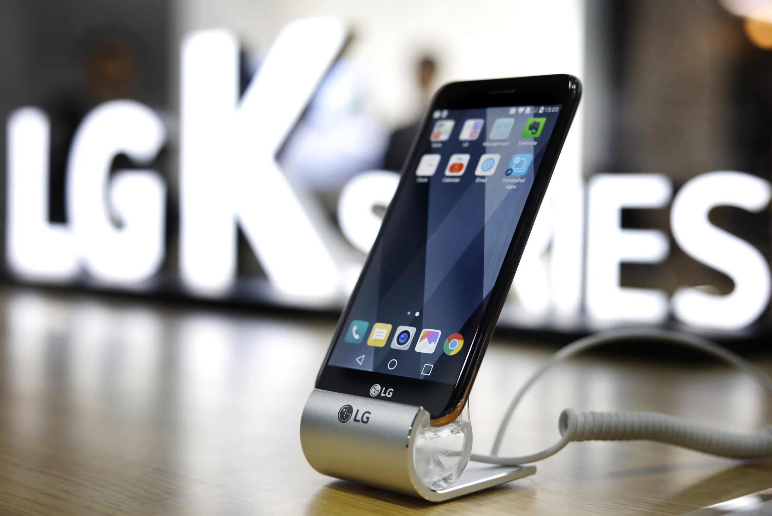 Close-up view of LG's K8 smartphone on display at the company's CES 2017 booth