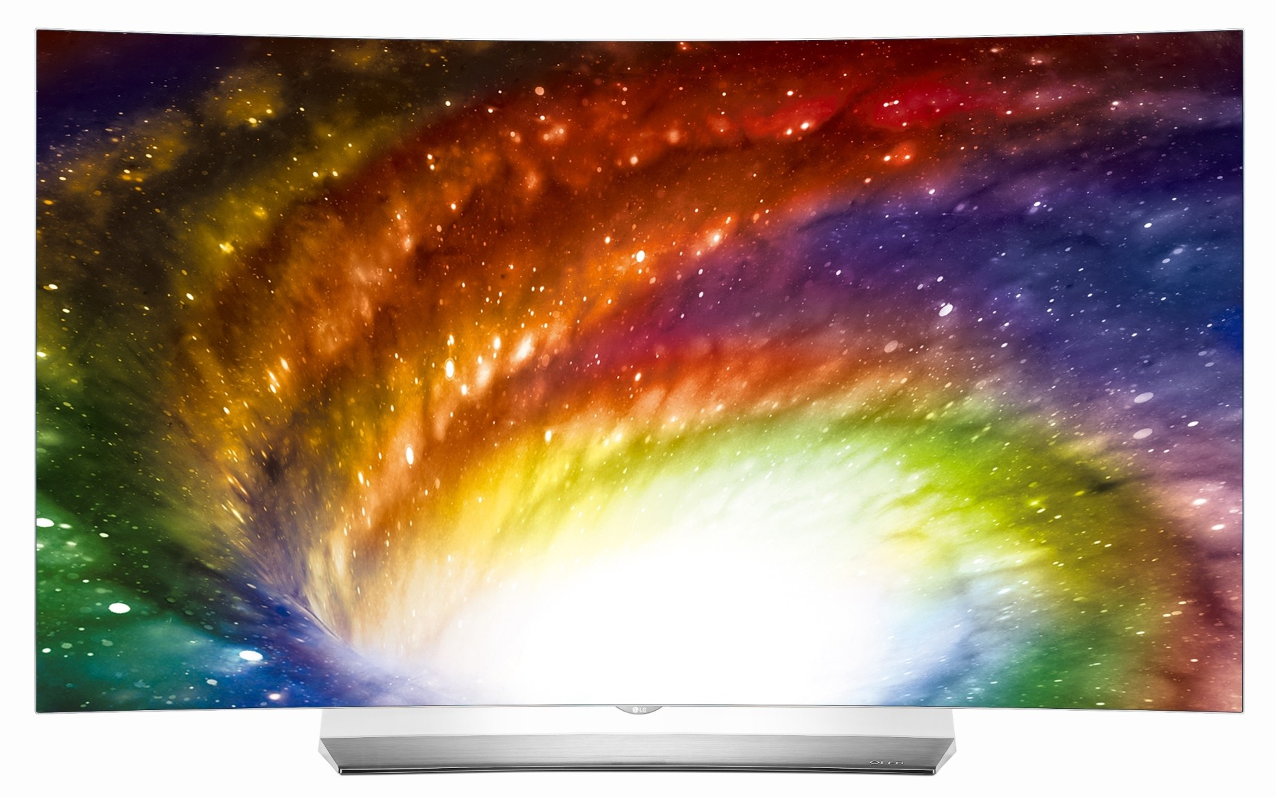 Front view of one of LG's TVs, model OLED55C6K, displaying colorful imagery to commemorate the new partnership between LG and Bang & Olufsen