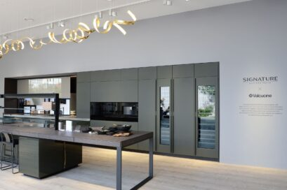 Side view of the LG Signature Kitchen Suite display zone designed in cooperation with Italian design company Valcucine