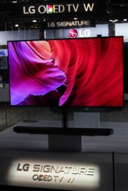 Front view of the LG SIGNATURE OLED TV W on display at LG's CES 2017 booth