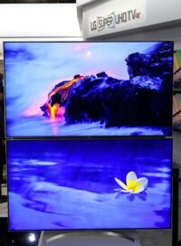 Two LG SUPER UHD TV models on display at LG's CES 2017 booth