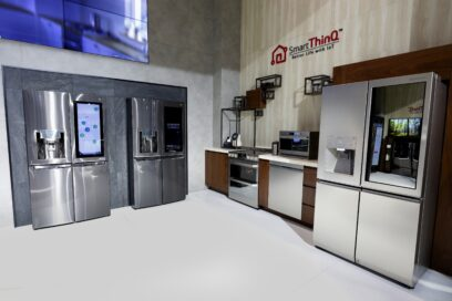 The LG Smart ThinQ zone with LG's AI-powered smart home appliances at CES 2017
