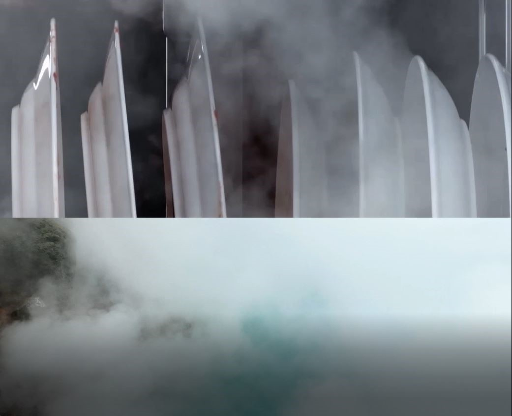 An image combining the High-temperature TrueSteam produced inside the dishwasher with the natural steam coming off a lagoon