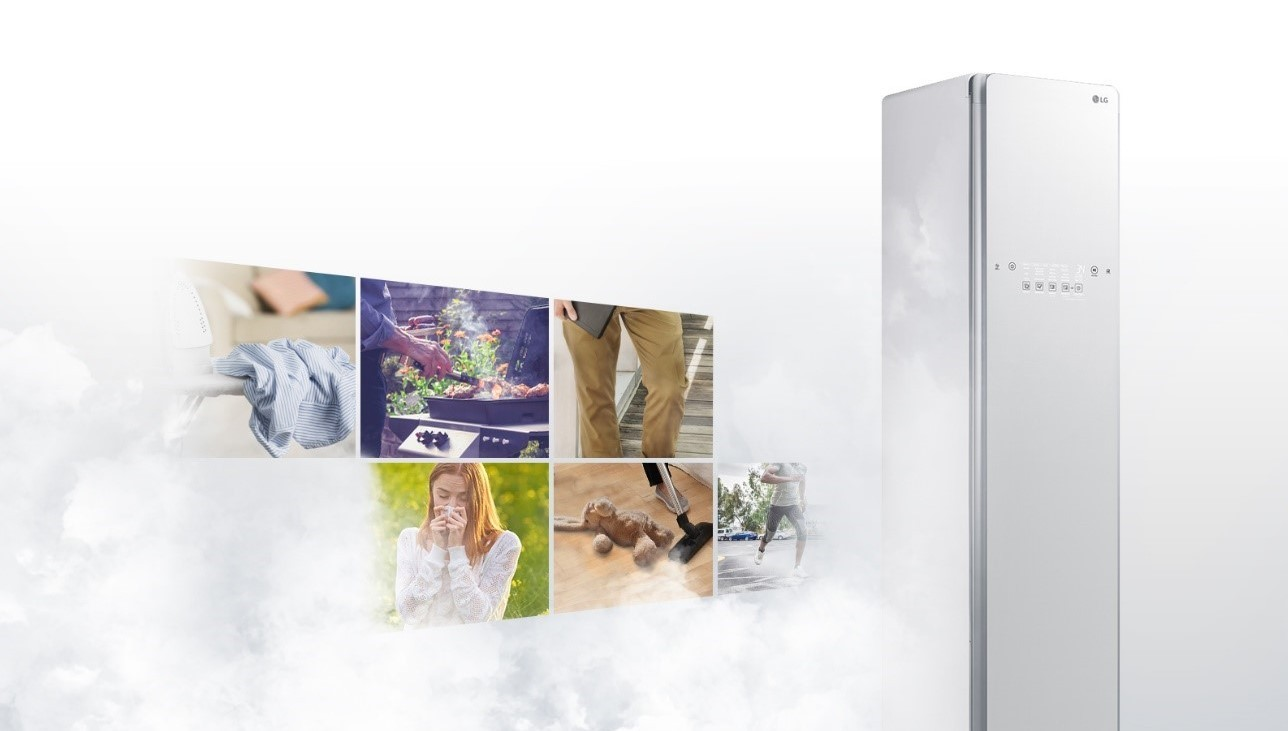 A promotional image of LG's trusted and certified TrueSteam appliance, LG Styler
