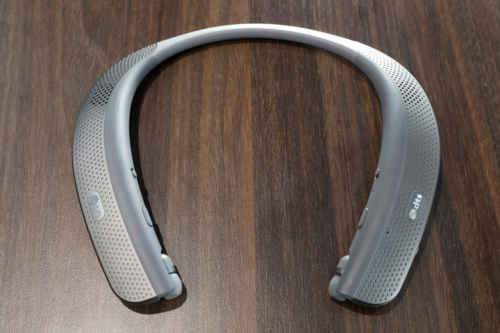 Close-up view of LG TONE Flex Premium Bluetooth headset on display at LG's CES 2017 booth