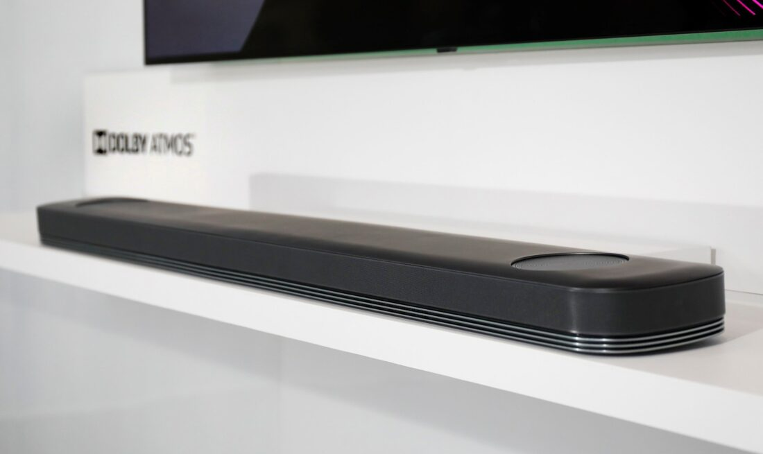 A close view of an LG soundbar with the Dolby Atmos capabilities at LG's CES 2017 booth