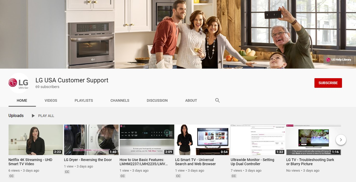 The front page of LG USA Customer Support's YoutTube channel