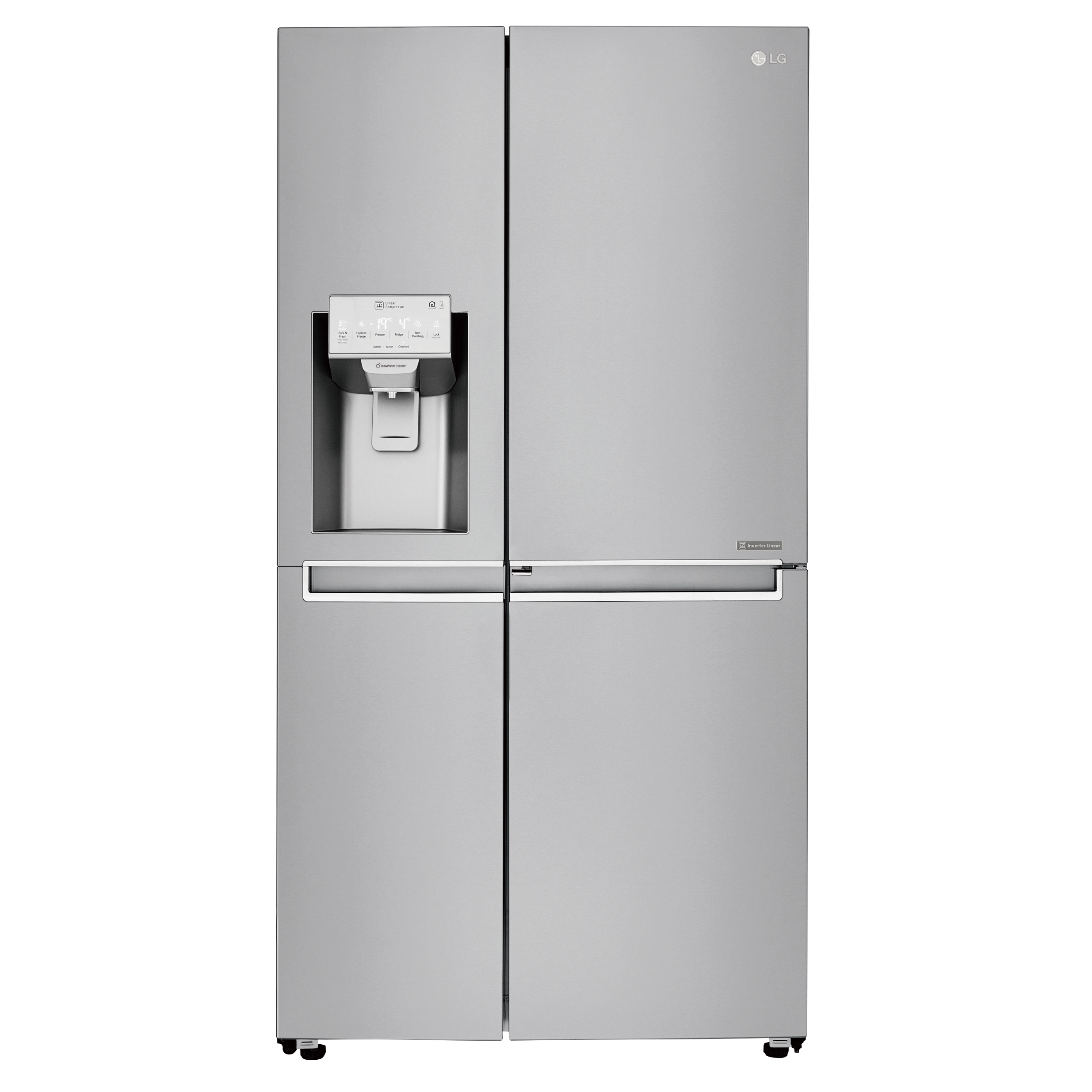 The front shot of LG's side-by-side refrigerator