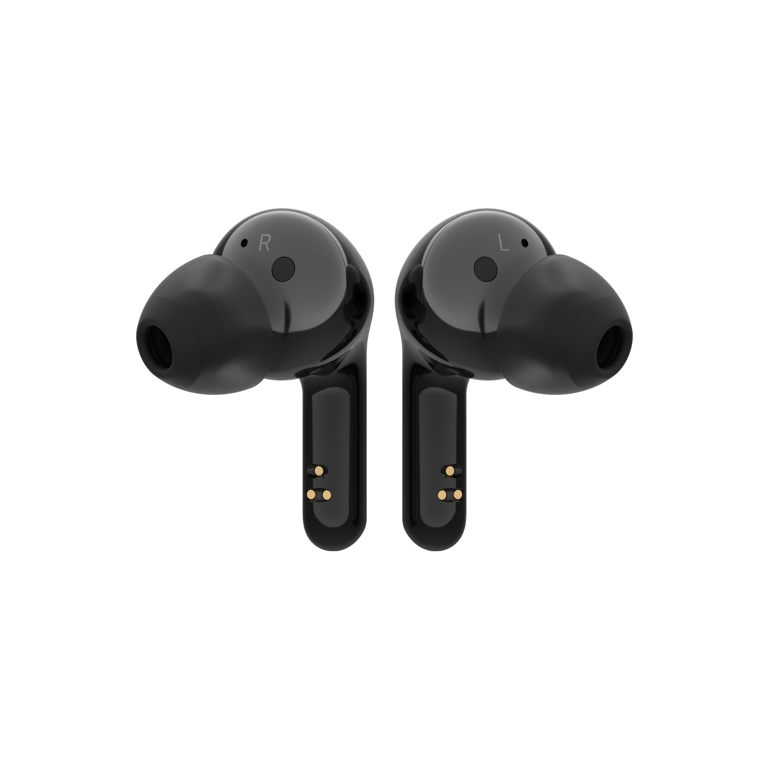 A pair of canal-type LG TONE Free in matte stylish black with each earbud facing the opposite direction