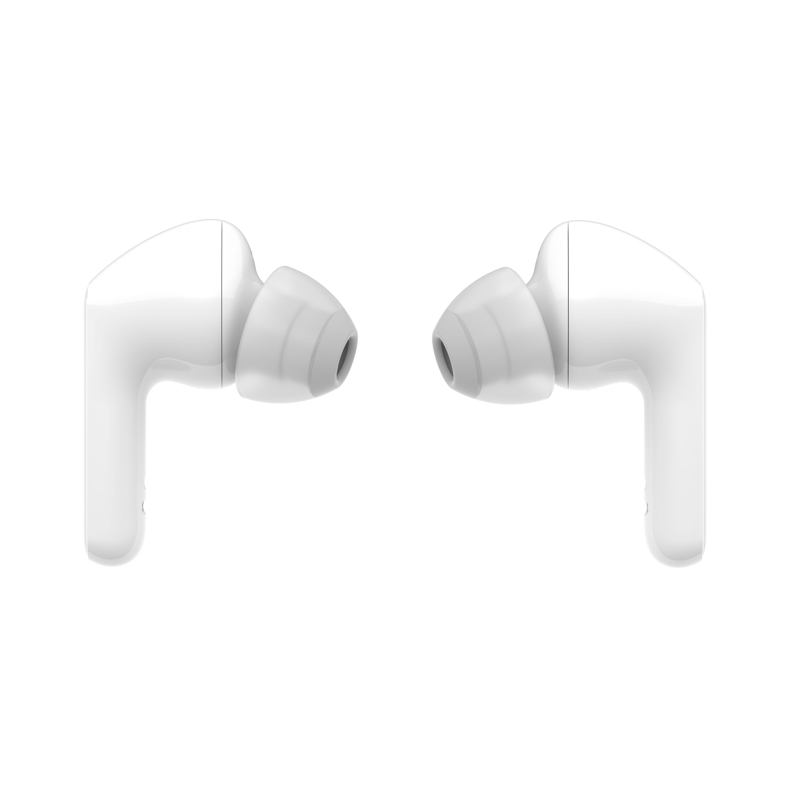 A pair of LG TONE Free in glossy modern white facing each other