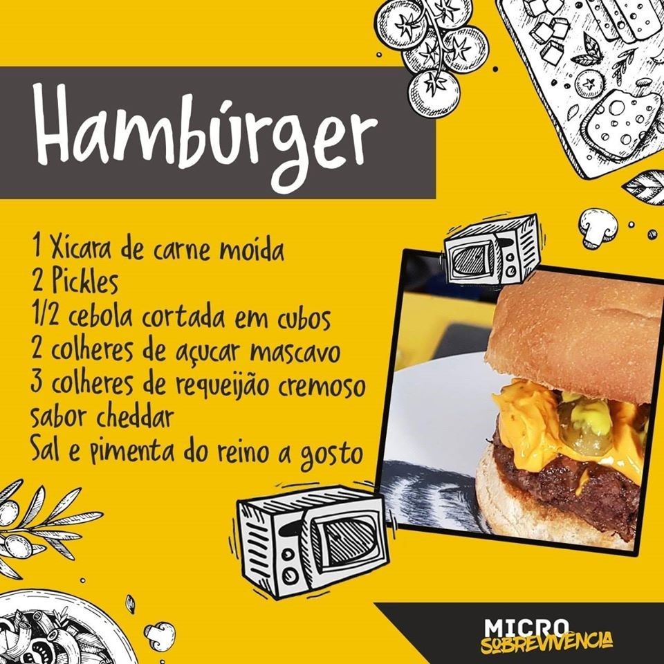 A hamburger recipe listing every ingredient needed for the cook-along video