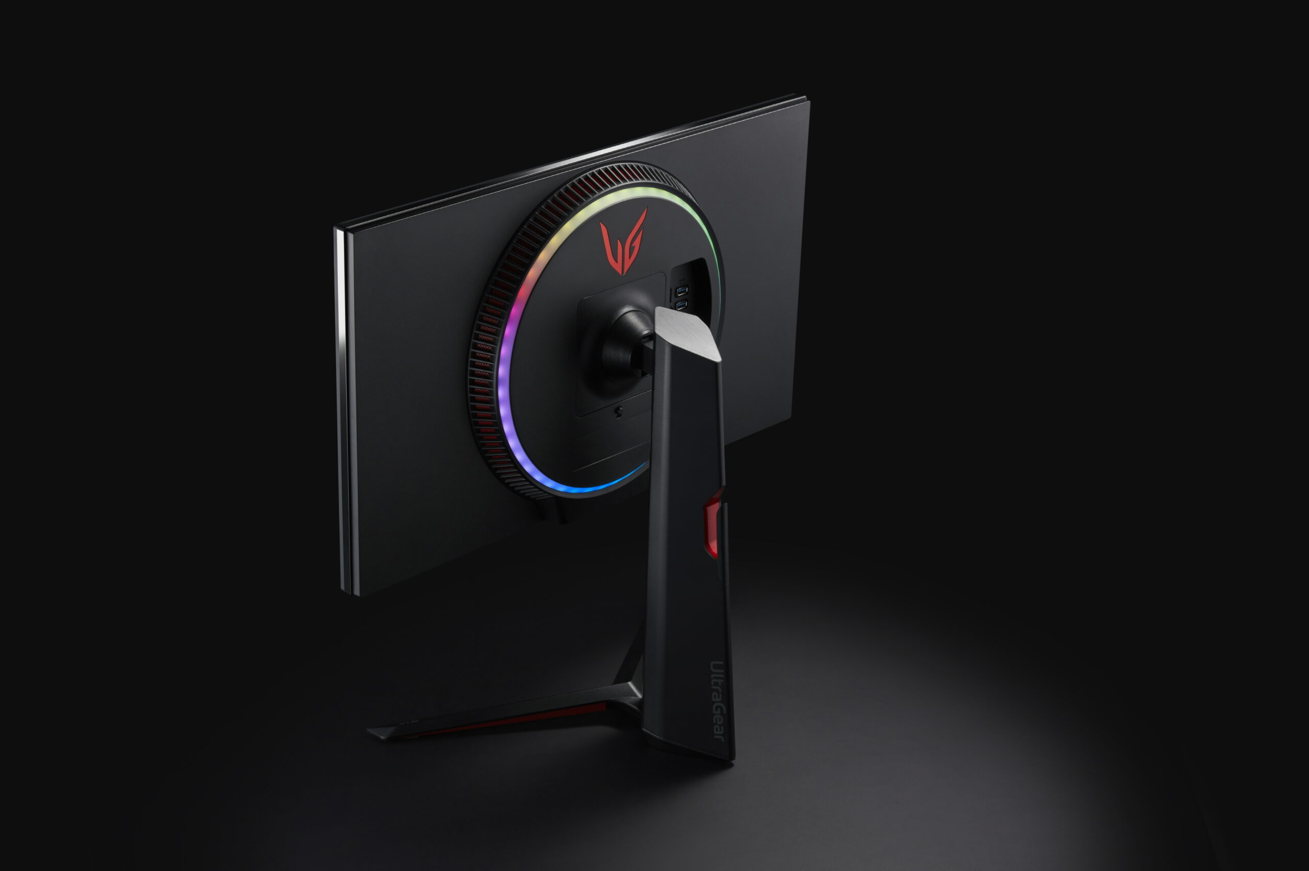 "A rear view of LG's new UltraGear Monitor to showcase its new victory-inspired ""wings"" emblem displayed on the back"