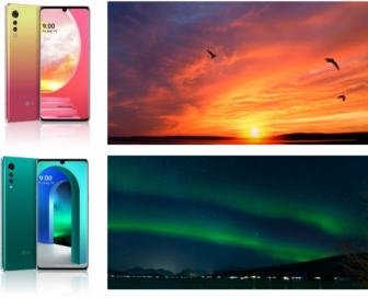 Two representative colors of LG VELVET; Illusion Sunset and Aurora Green, next to images depicting their inspiration